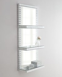 Mosaic-Border Mirrored Shelf Wall Panel | Neiman Marcus