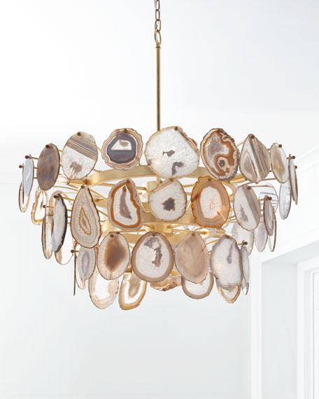 John Richard Collection Agate Sliced 15 Light Chandelier