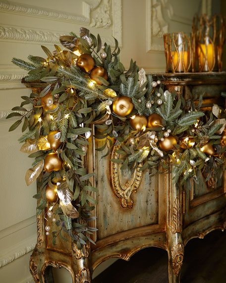 Frosted Gold 6 Christmas Garland  Neiman Marcus