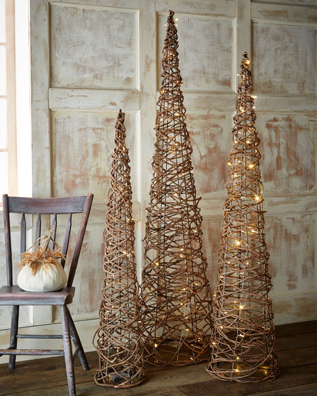 Lighted Grapevine Cone Trees 3 Piece Set Neiman Marcus