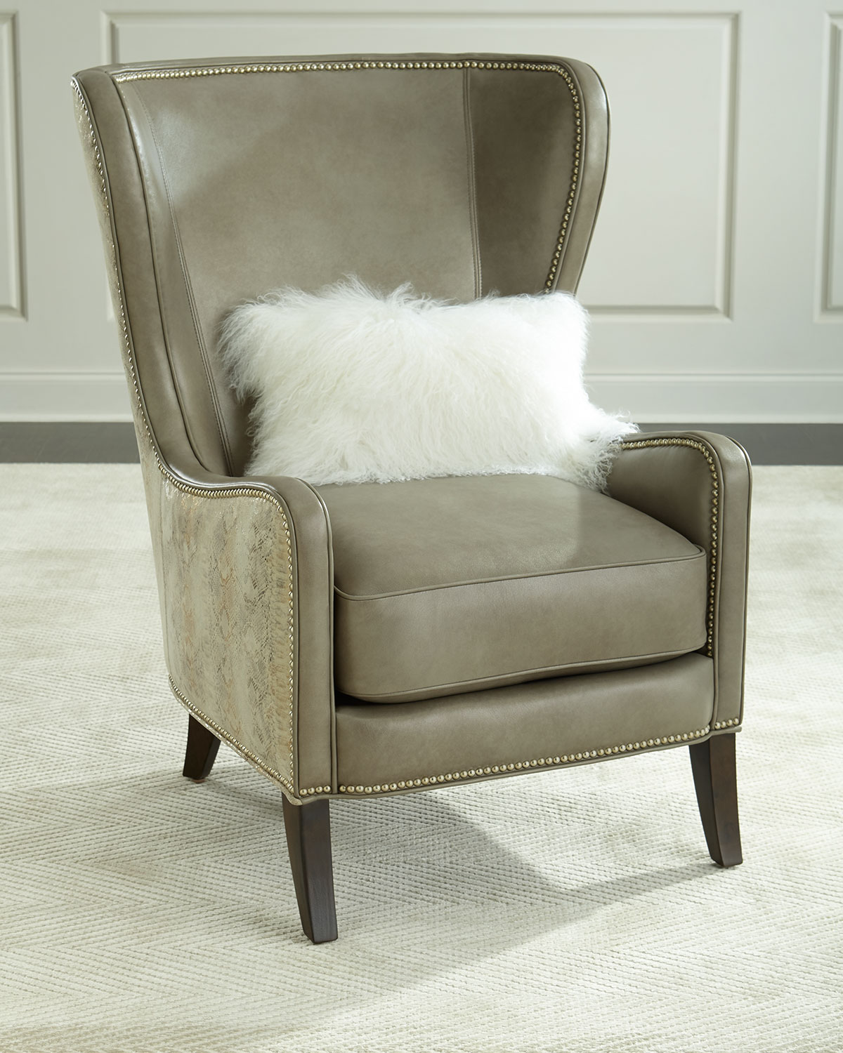 Wing Back Chairs Pelham Leather Wingback Chair Gray Metallic