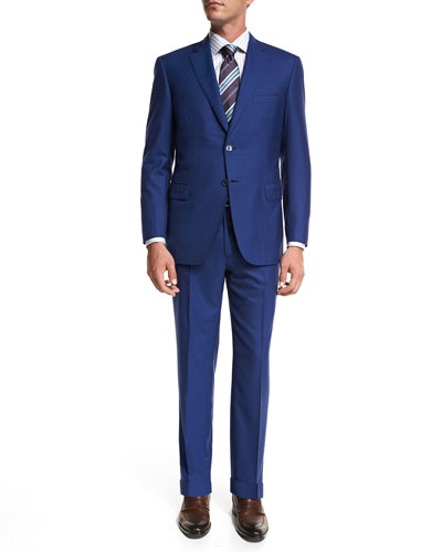 Brioni Solid Super 160s Wool Two-Piece Suit, High Blue