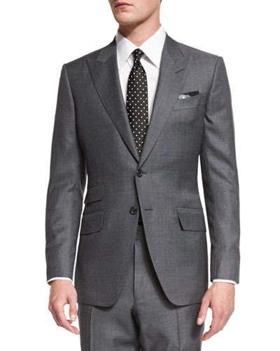 TOM FORD O'Connor Base Irregular Canvas Two-Piece Suit, Gray