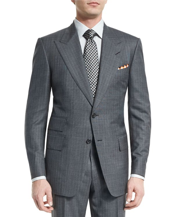 Tom Ford Windsor Base Micro-pinstripe Suit Gray Neiman Marcus