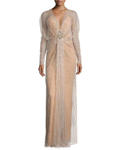 harlow cuddle chair carlisle dining chairs jenny packham long-sleeve embellished-overlay gown, illusion | neiman marcus