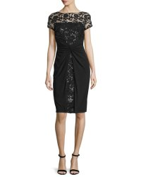 David Meister Short-Sleeve Sequined Lace Cocktail Dress ...