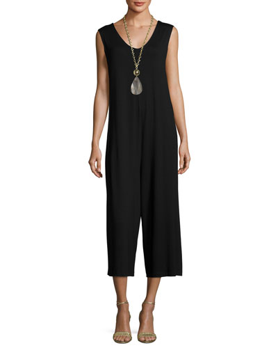 Eileen Fisher Lightweight Cropped Jersey Jumpsuit, Black