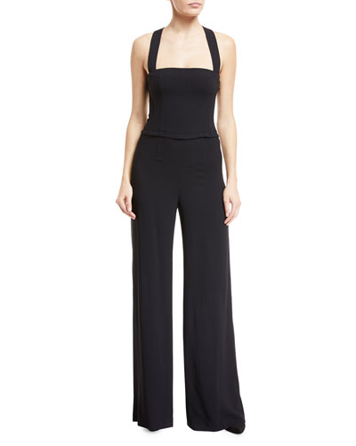 Theory Bustier Rosina Crepe Wide-Leg Jumpsuit
