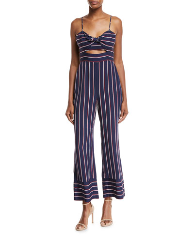 Bardot Lulu Sleeveless Cutout Wide-Leg Striped Jumpsuit