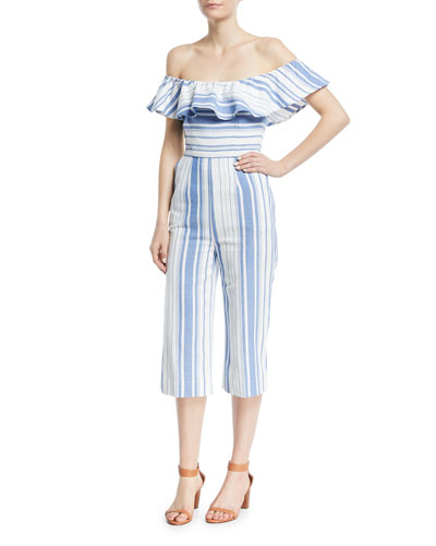 Joie Canada Striped Ruffle Jumpsuit