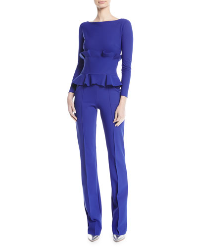 Chiara Boni La Petite Robe Debra Double-Ruffle Long-Sleeve Jumpsuit