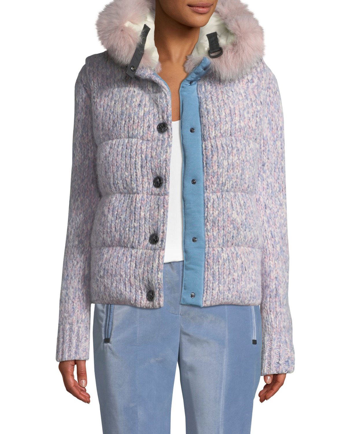 Salon Baby Grenoble Tweed Cable Knit Puffer Coat W Fur Trim Hood