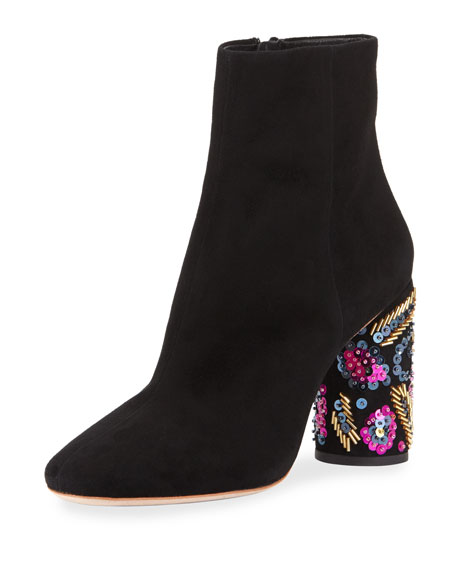 Wilder Embellished Suede Bootie, Black/Multi