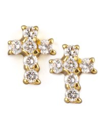 KC Designs Diamond Cross Earrings, Yellow Gold