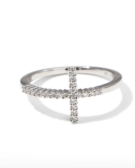 Roberto Coin White Gold Diamond Cross Ring