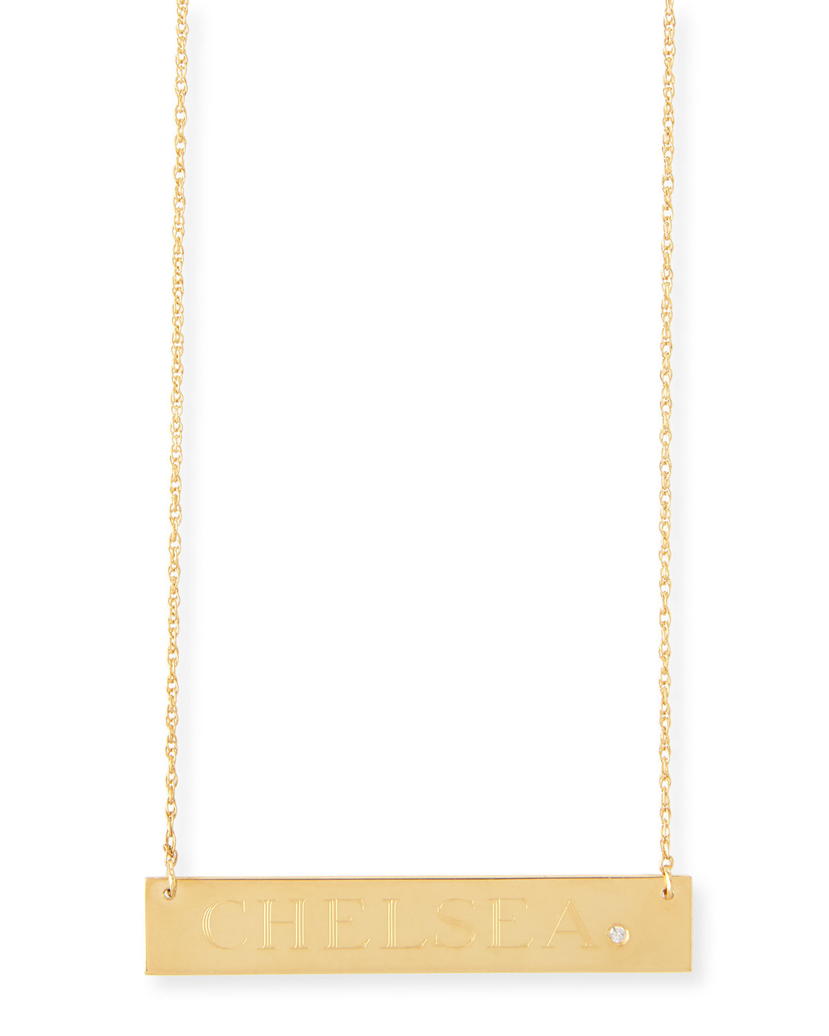 JENNIFER ZEUNER HARLEY DIAMOND BAR NECKLACE