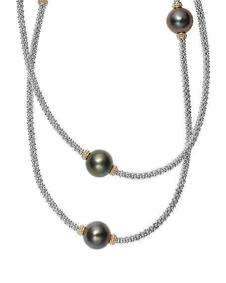 Lagos Luna Beaded Rope Necklace with Seven Tahitian Pearl