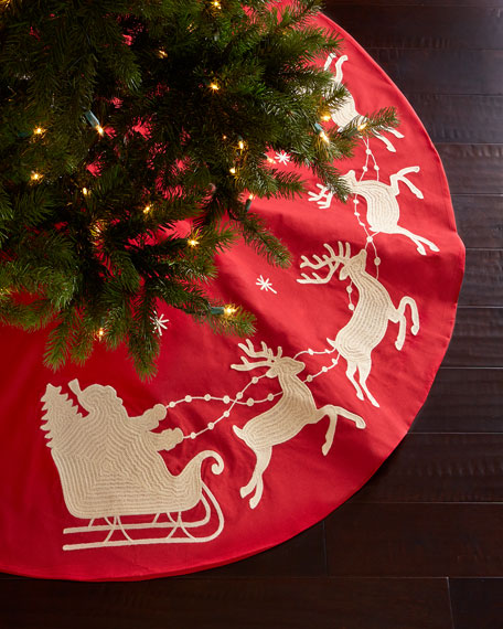 Santa Amp Sleigh Christmas Tree Skirt