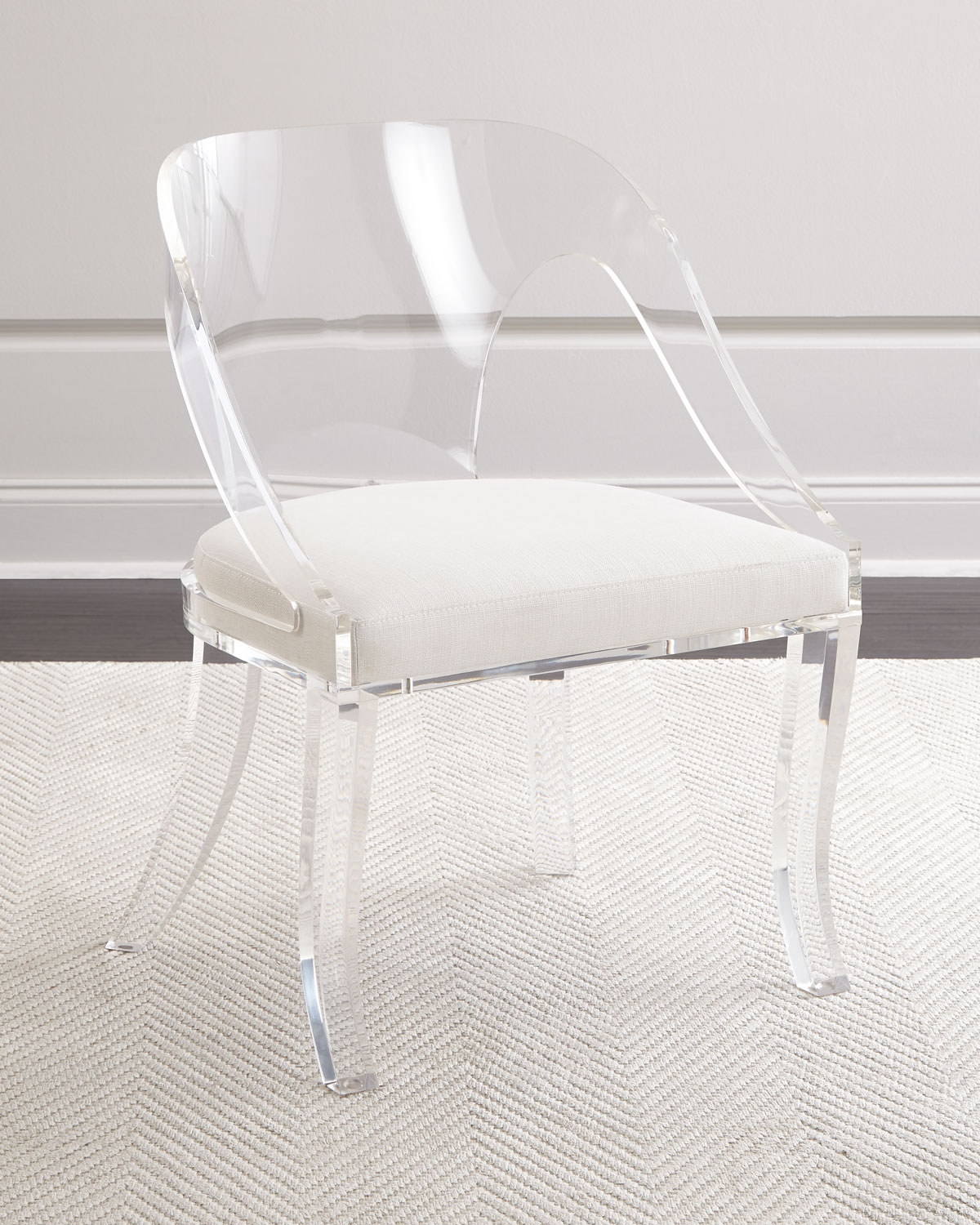 acrylic chairs with cushions gray recliner chair delilah round back neiman marcus