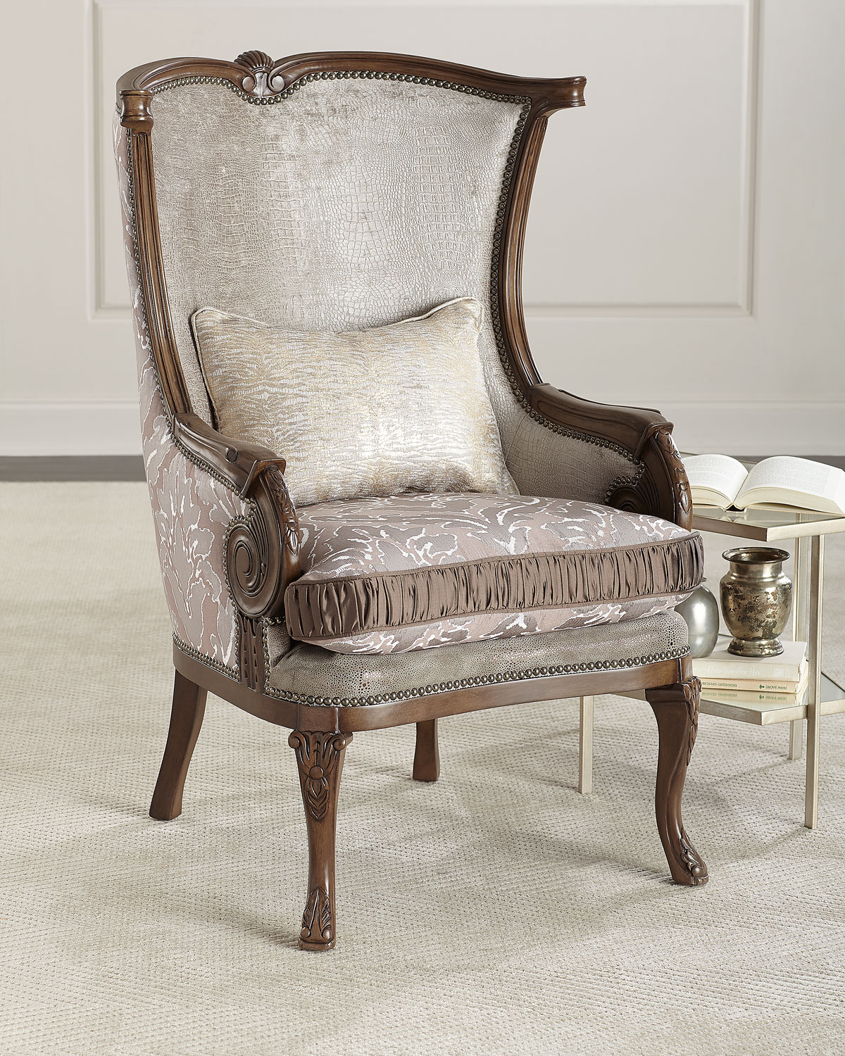 Damask Chair Lia Damask Wing Chair