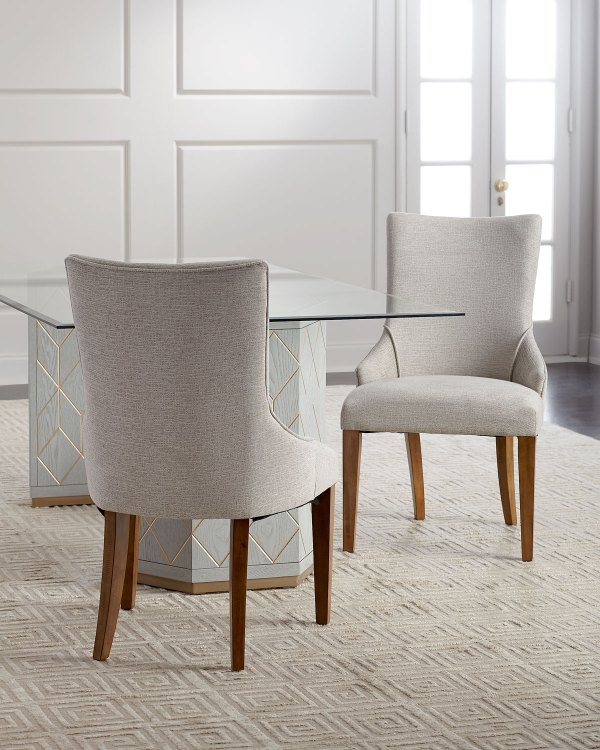 Aurora Double Pedestal Glass-top Dining Table And Matching