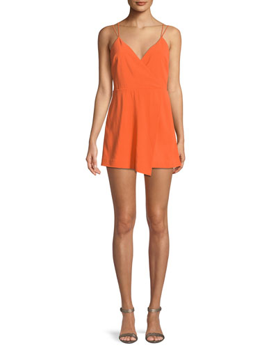 Alice + Olivia Emery Fitted Cross-Front Romper