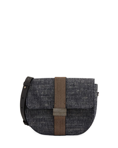Brunello Cucinelli Denim and Monili Crossbody Bag
