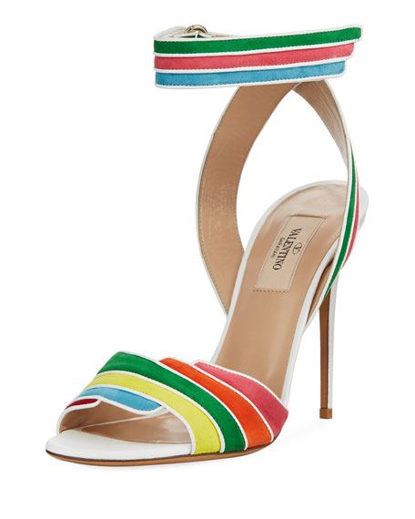 Valentino Garavani Rainbow Ankle-Wrap High Sandal, Multi