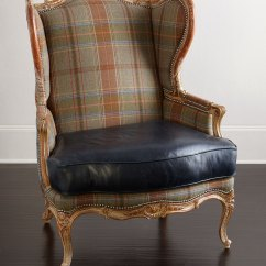 Blue Wing Chair Covers For Sale Cheap Massoud Sienna Leather Neiman Marcus