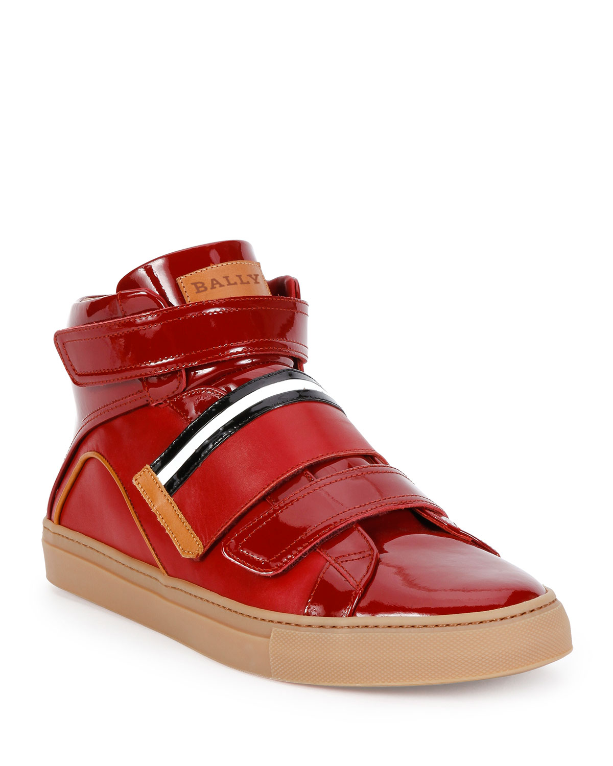 Bally Men S Herick Leather High Top Sneakers Red