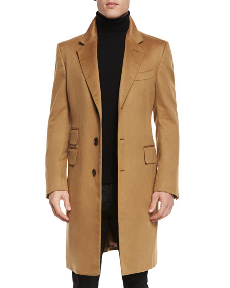 TOM FORD Classic Tailored Single Breasted Top Coat Camel