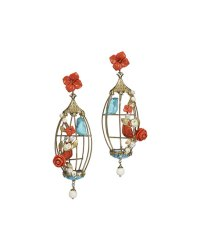 Of Rare Origin Aviary Coral & Turquoise Birdcage Earrings ...