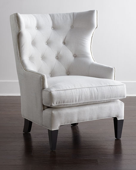 tufted nailhead chair office no arms trim neiman marcus helena