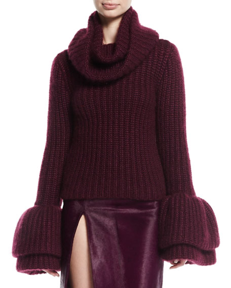 Cowl-Neck Bell-Sleeve Sweater, Plum