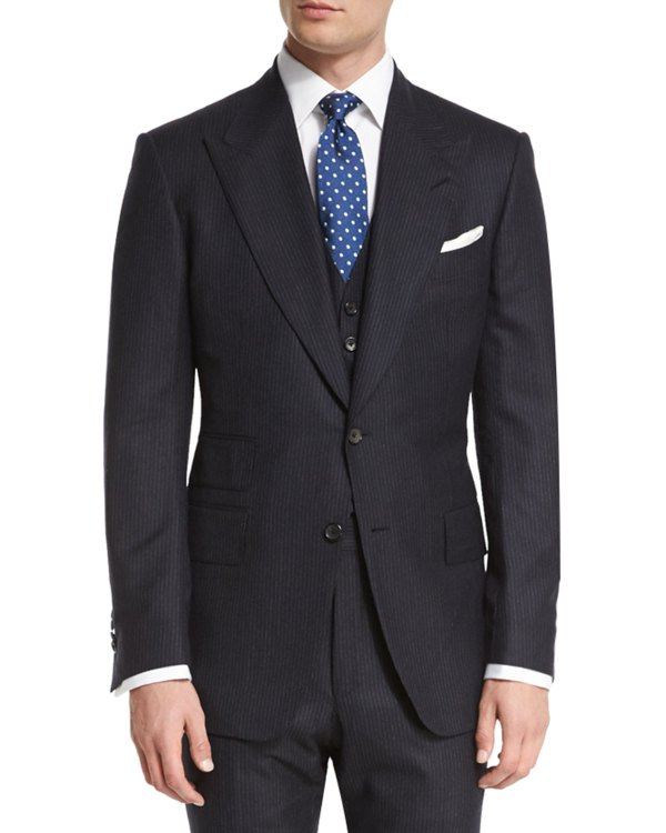 Tom Ford Windsor Base Extra-light Flannel Pinstripe Three-piece Suit Navy Neiman Marcus