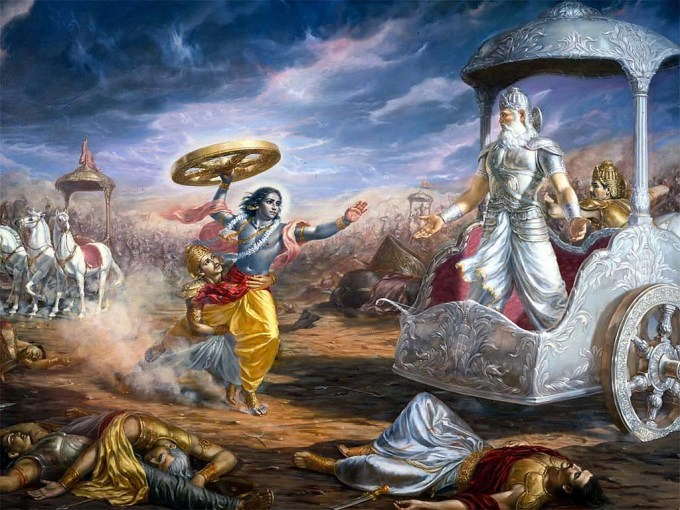 Krishna Holding Wheel To Kill Bheeshma - Top 10 lord krishna images