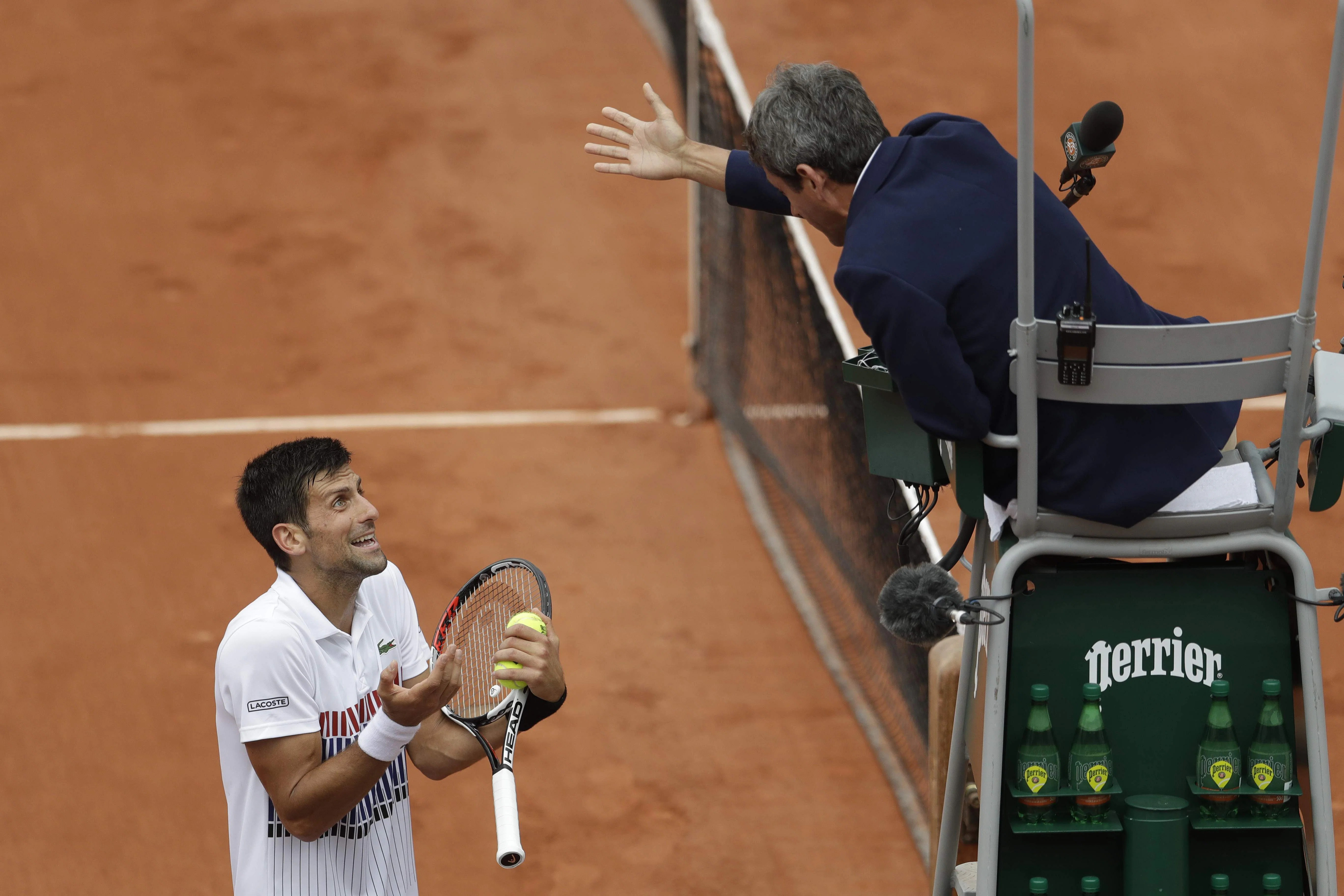 tennis umpire chair hire inflatable bondage all so difficult for djokovic easy nadal at french
