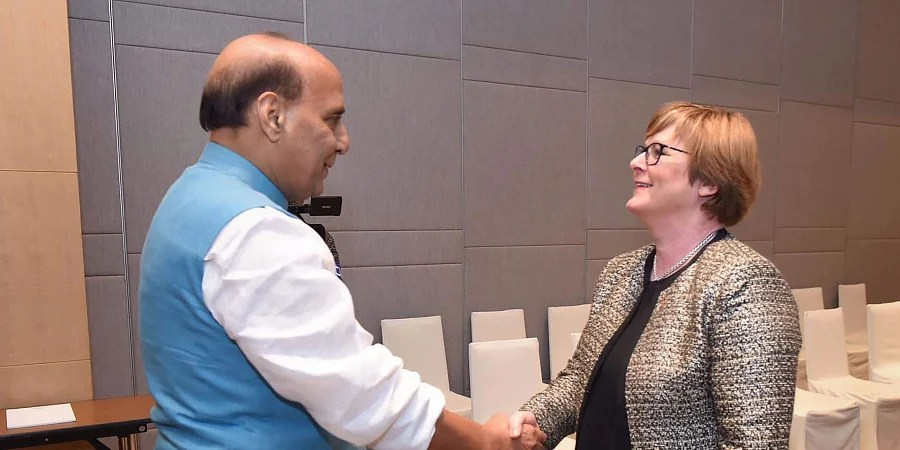 Defence Minister Rajnath Singh with his Australian counterpart Linda Reynolds on the sidelines of ADMM-Plus in Bangkok. (Photo | PTI)