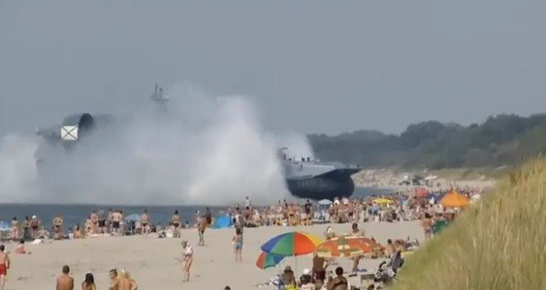 Russia Kaliningrad Hovercraft Lands on Crowded Beach  The