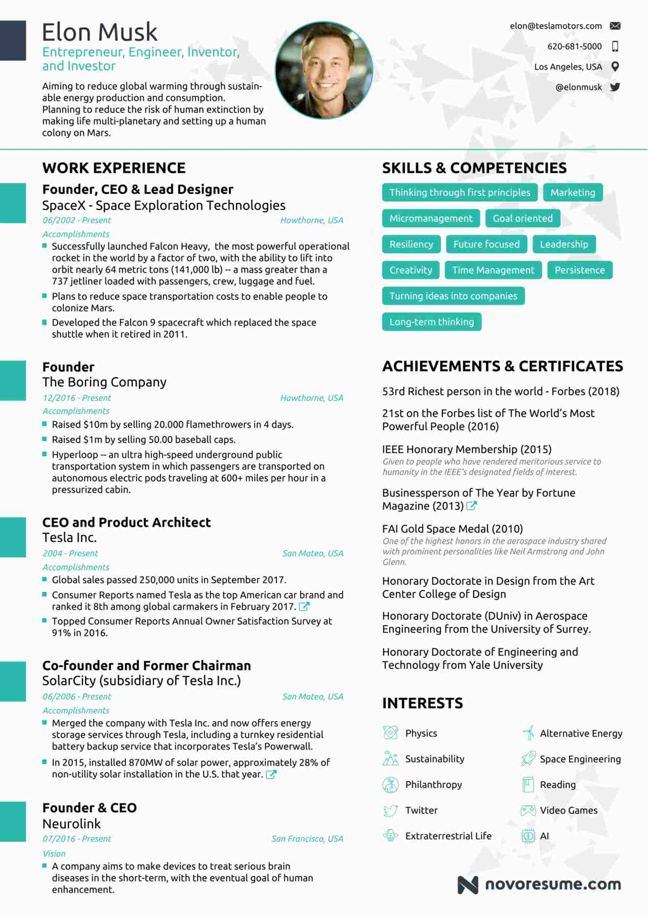 Elon Musk Has a One Page Resume That we All Must Take