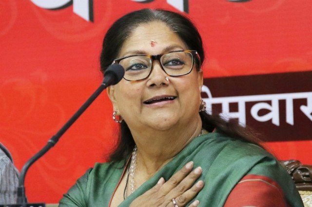 File photo of former Rajasthan CM Vasundhara Raje.