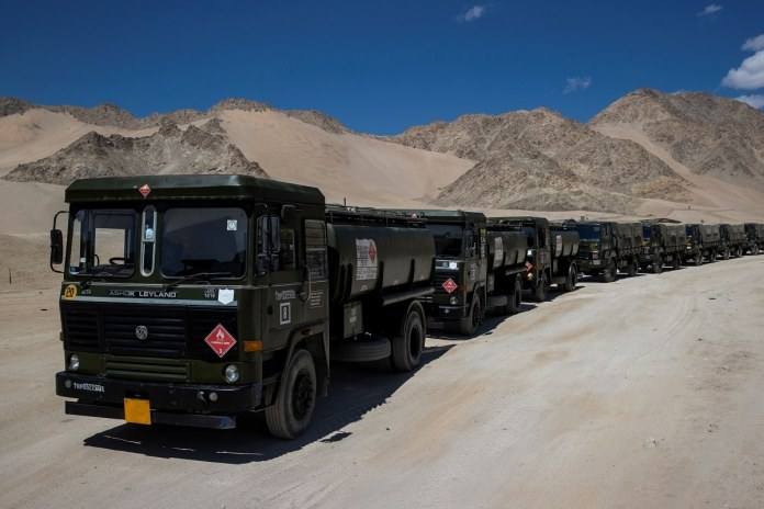 Military tankers carrying fuel move towards forward areas in the Ladakh region in September. (REUTERS)