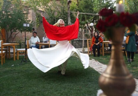 Young Afghan Women, Men Practice Whiling Sufi Dance Together