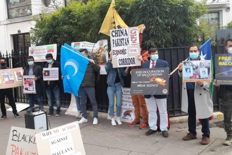 dissidents of Baloch, Pashtun, Uyghur, Tibet and Hong Kong origin organised a protest outside the FATF headquarters on Saturday, urging the international monitoring body to blacklist Pakistan.