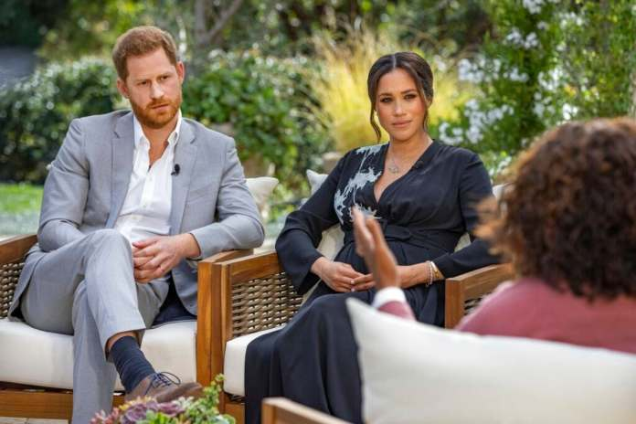 Meghan Markle and Prince Harry during an interview with Oprah Winfrey. (AP)
