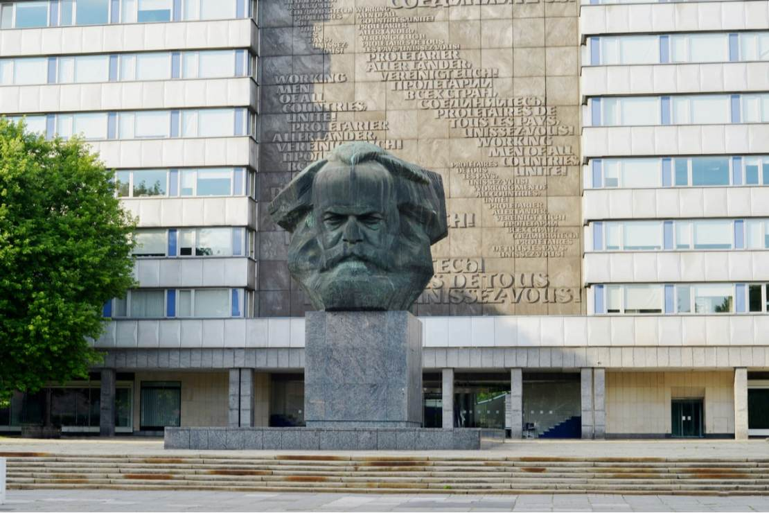 Statue of the German philosopher Karl Marx in the center of Chemnitz town, Germany, in 2018. (Image: Shutterstock)