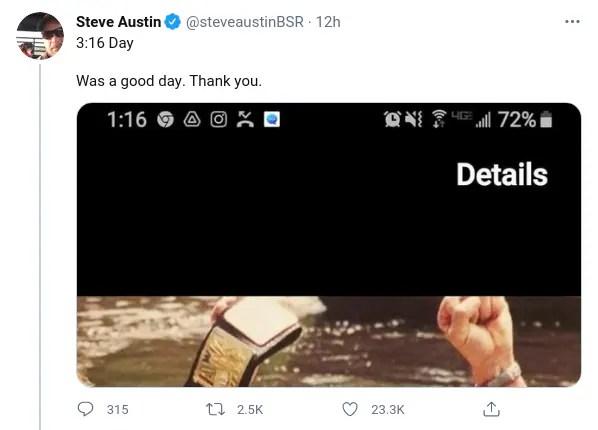 WWE Wrestlers, Including Steve Austin, Share Posts on Austin 3:16 Day