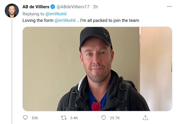 IPL 2021: AB de Villiers Challenges Royal Challengers Bangalore Captain Virat Kohli for a Race