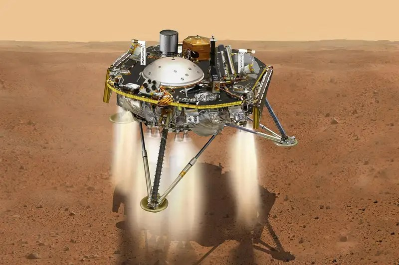An artist's impression of the Mars InSight lander burning its thrusters