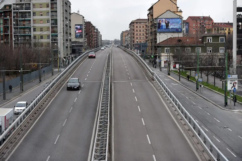 Empty road in Milan